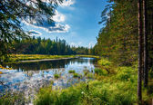Herfst landschap met rivier — Stockfoto