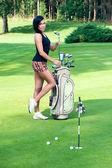 Sexy femail golfer — Stock Photo