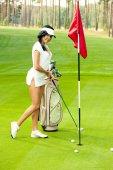 Sexy golfer girl — Stock Photo