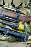 Different types of rifle guns — Stock Photo