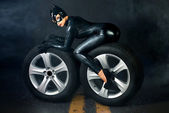 Female in catwoman costume — Stock Photo