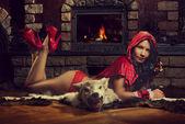 Seductive Red Riding Hood — Stock Photo