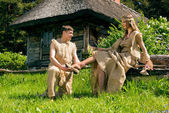Ancient Medieval couple — Stock Photo