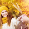 Girl with scarf and hat in autumn — Stock Photo #51843399