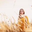 Girl with scarf in autumn — Stock Photo #51843425