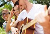 Amigos con guitarra divirtiéndote — Foto de Stock