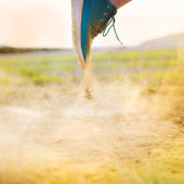 Man foot running on countryside road — Stock Photo