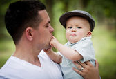 Little boy playing with dad — Stock Photo