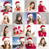 Christmas face collage — Stock Photo