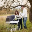 Parents with baby in vintage pram — Stock Photo #52817255