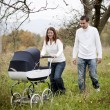 Parents with baby in vintage pram — Stock Photo #52817275