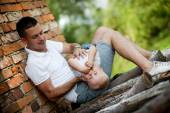 Father with his son playing — Stock Photo