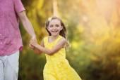 Girl having fun during the walk — Stock Photo