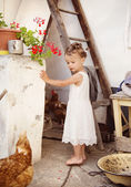 Girl having fun in farmhouse — Stok fotoğraf