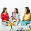 Pregnant women looking at baby shower gifts — Stock Photo #56086859