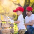 Father with son painting wooden fence — Stock Photo #56173629