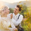 Wedding couple enjoying romantic moments — Stock Photo #56759053