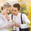 Wedding couple enjoying romantic moments — Stock Photo #56759055