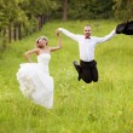 Bride and groom enjoying wedding day — Stock Photo #57065895