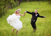 Bride and groom enjoying wedding day — Stockfoto