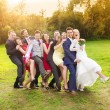 Newlywed couple having fun with bridesmaids and groomsmen — Stock Photo #58277443