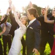 Newlywed couple dancing with bridesmaids and groomsmen — Stock Photo #62139455