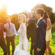 Newlywed couple dancing with bridesmaids and groomsmen — Stock Photo #62139507