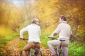 Active seniors on bikes — Stock Photo