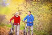 Active seniors having walk with bikes — Photo