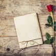 Blank love letter and red rose. — Stockfoto #62786717