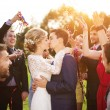 Newlyweds kissing at wedding reception — Stock Photo #63380905