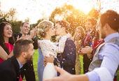 Newlyweds kissing at wedding reception — Stock Photo