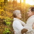 Senior couple hugging in autumn forest — Stock Photo #64497317