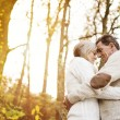Senior couple hugging in autumn forest — Stock Photo #64497571