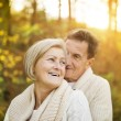 Senior couple hugging in autumn forest — Stock Photo #64497635