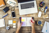 Mix of office supplies and gadgets — Stock Photo