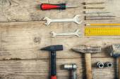 Desk of a carpenter with different tools. — Stock Photo