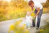 Father and son on a walk — Stock Photo