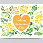 Orange heart with flowers — Stock Vector #65982975