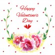 Beautiful flowers with red hearts — Stock Vector #65982991