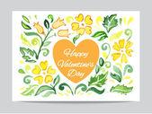 Orange heart with flowers — Vettoriale Stock