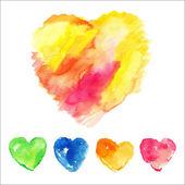 Набор красочных акварельных сердец — Cтоковый вектор