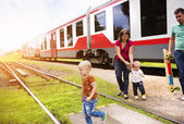 Family travel in train. — Stock Photo