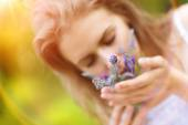 Woman smelling lavender in her hands. — Stock Photo