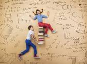 Boy and girl learning playfully — Stock Photo