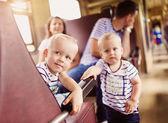 Family travel in train — Stock Photo