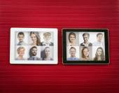 Tablet with female and male portraits — Foto Stock