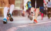 Runners at the city race — Stock Photo