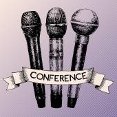 Conference template with microphones — Stock Vector
