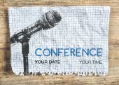 Conference template with microphone — Stock Vector